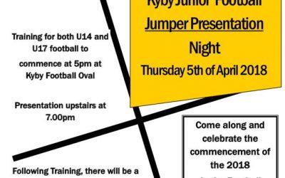 Junior Football Jumper Presentations