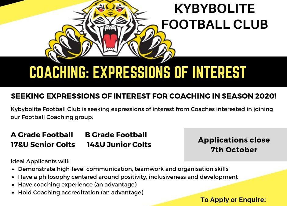 2020 Football Coaching Applications & Enquiries